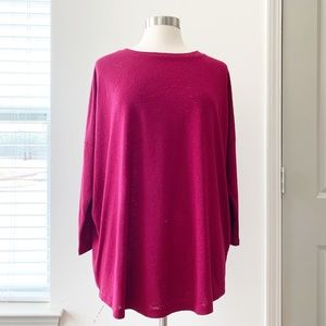Ann Taylor LOFT Sweater Tee Maroon Red XL